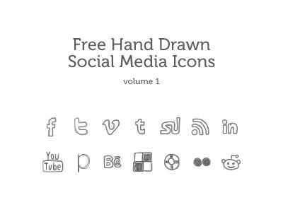 Hand Drawn Social Media Icons icons hand drawn social media free