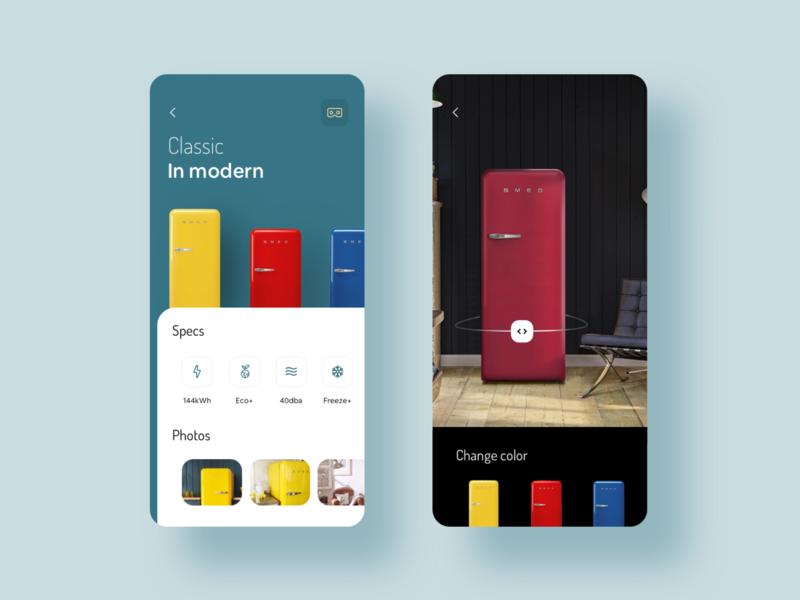SMEG Fridge UI fridge minimalistic augmented reality augmentedreality ui ios ios app inteface uidesign design app