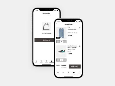 Shopping bag ui design ios shopping bag ui app