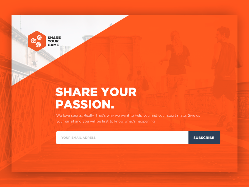 Landing Page for SYG app active sport subscribe sites site web landing orange