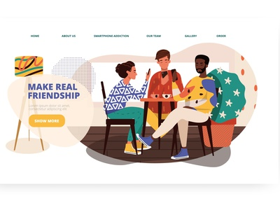 Make Real Friendship. Web template. social ui design landing page design web design web template vectorgraphics.io vectorgraphics addiction technology people friendship smartphone addiction vector illustration