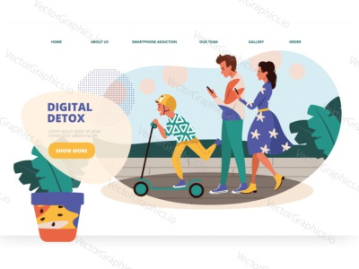 Smartphone addicted parents walk with their kid walk mobile phone social media parents vector illustration vectorgraphics.io vectorgraphics technology social smartphone addiction people landing page design addiction