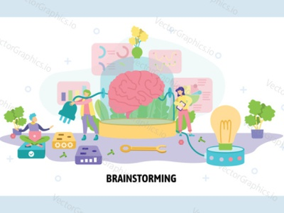 Human brain connected to plug and light bulb identity design idea plug connect brainstorming vector illustration vectorgraphics technology illustration thinking brain