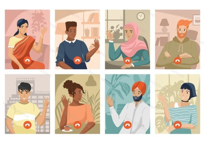 Multinational team make the zoom video call people remote work virtual meeting business call international multinational business team video call zoom illustration vectorgraphics.io vector illustration technology