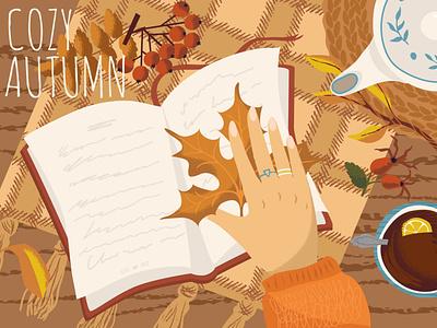 Autumn season mood illustration autumn collection autumn leaves concept poster fall graphic design graphics vectorgraphics.io vector illustration illustration reading hand drawn mood season autumn
