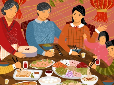 Chinese family dinner lunch food people dinner family chinese food chinese new year chinese culture chinese china vectorgraphics illustration vectorgraphics.io vector illustration