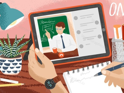 Online Learning. Distance education as a response to pandemics. online course online education online learning education technology vectorgraphics illustration vectorgraphics.io vector illustration