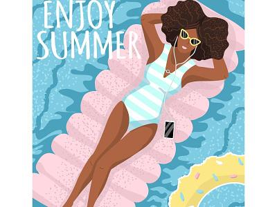 Enjoy summer beach vacation swimming pool woman summer vectorgraphics illustration vectorgraphics.io vector illustration