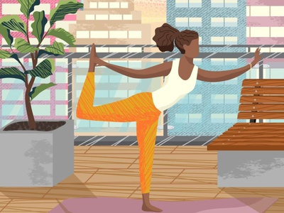 Yoga exercise. Hand drawn illustration. terrace balcony exercise meditation yoga african american black woman woman people illustration vectorgraphics.io vector illustration