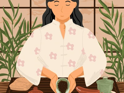 Tea ceremony. Hand drawn vector illustration. japanese tea tea ceremony tea hand drawn people illustration vectorgraphics.io vector illustration