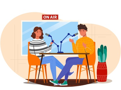 Live streaming radio podcast cartoon landing page landing page design people talking on air live stream live streaming radio podcast illustration vectorgraphics.io vector illustration
