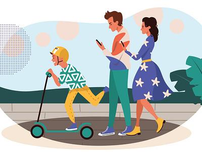 Smartphone addiction family concept illustration parents family smartphone addiction smartphone addiction mobile people technology illustration vectorgraphics.io vector illustration
