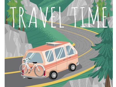 Travel time. Camper van on a mountain road. poster road trip camper travel time travel vectorgraphics illustration vectorgraphics.io vector illustration