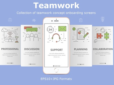 Business planning and suppor banners and onboarding screens uxui chat teamwork collaboration business planning banners onboarding onboarding ui onboarding screen support smartphone ux vector design ui mobile technology vectorgraphics.io vector illustration