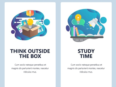 Think outside the box. Mobile onboarding screens. mobile design mobile ui mobile app studying online education vector ux onboarding screen design smartphone mobile ui vectorgraphics.io vector illustration