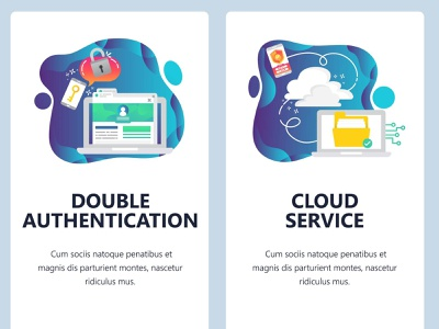 Cloud service and double authentication. Mobile screens banners ux design ui  ux online authentication cloud app mobile design ui vector ux onboarding screen smartphone technology vectorgraphics.io vector illustration