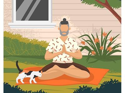 Man doing yoga meditation outdoor on the house backyard vector meditation sport outdoor yoga illustration yoga pose yoga hand drawn vectorgraphics illustration vectorgraphics.io vector illustration