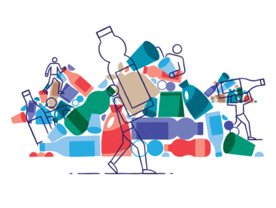 Rotarian Spot Illustration pollution plastic monoline vector illustration