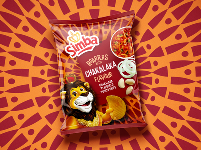Simba Chips fast food pattern chips snacks packaging simba chips packaging design