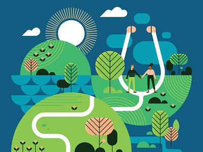 Your Journey To Wellness healing medicine medical nature geometric minimal vector illustration