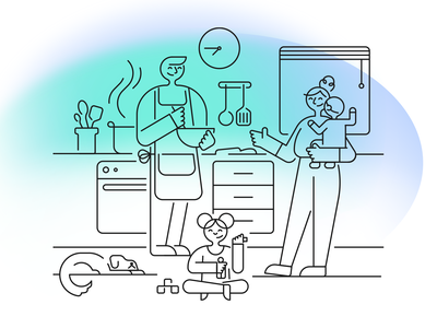 Alight Illustrations monoline character vector illustration