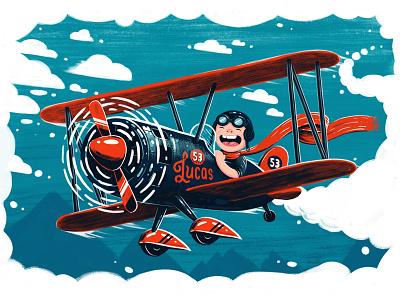 Flying High red blue photoshop illustration plane