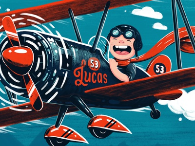 Flying High (Detail) red blue photoshop illustration plane