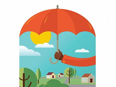 Umbrella (Detail 1) vibrant bright insurance umbrella blue orange vector illustration