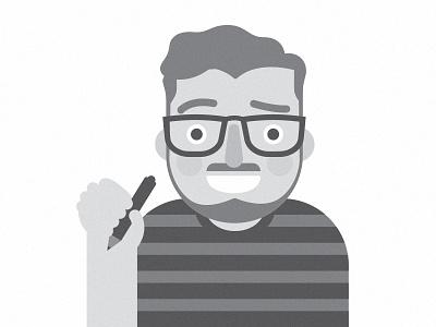 Portrait glasses face black and white portrait vector