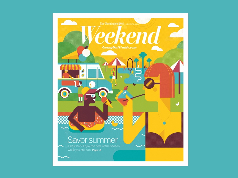 Savor Summer editorial illustration washingtonpost geometric vector illustration summer
