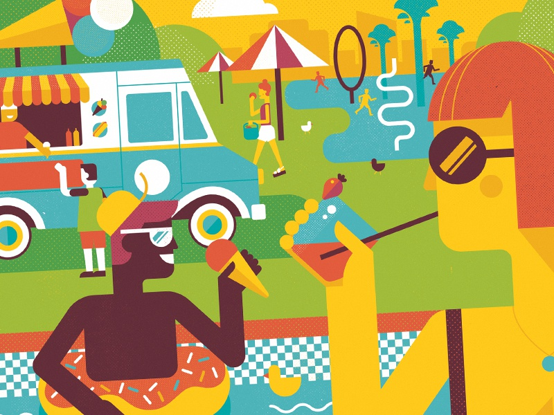 Savor Summer (detail) editorial illustration washingtonpost geometric vector illustration summer