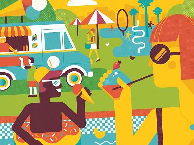 Savor Summer (detail) editorial illustration washingtonpost geometric vector illustration summer