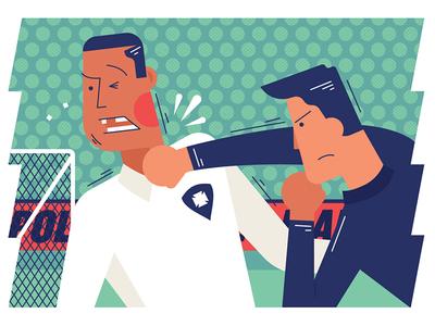 Pelea! Spot Illustration football editorial vector illustration