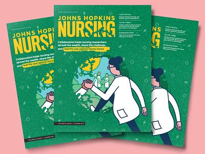 Cross Pollination pattern character vector nursing magazine illustration