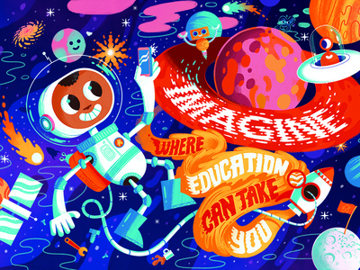 Imagine where education can take you character design fun space colors photoshop kidlit illustration