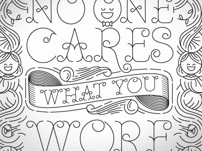 No One Cares illustration typography