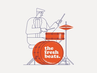 Drummer poster monoline character illustration drawing music vector illustration vector