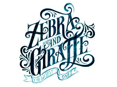 Zebra & Giraffe illustration typography design tshirt design zebra and giraffe hylton warburton