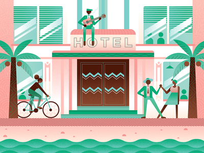Art Deco Hotel illustration character vector design pattern architecture african characters poster art deco vector illustration