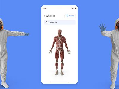 Doctor - Symptoms ux designer ux research human body lungs scan analytics app designer ux ui doctor app animation uxdesign uidesign uiux anatomy
