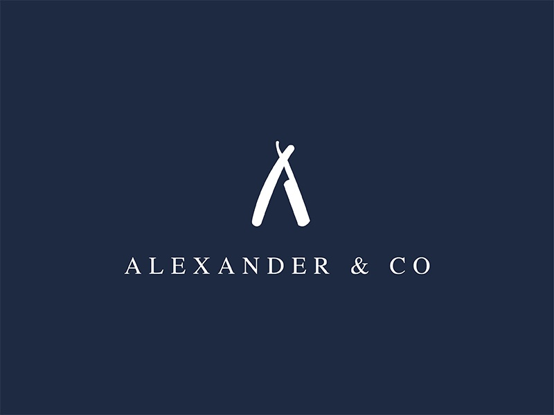 Alexander & Co. illustration brand design graphic design design mens salon inspiraton london branding knife salon logo design logo