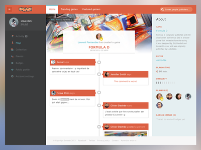 Smaash — Timeline dashboard icons ui social app web interface user interface timeline game cover multiplayer