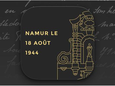 Namur, le 18 août 1944 — Shortcut Icon namur belgium ios icon app outline architecture shortcut gold script safari typography
