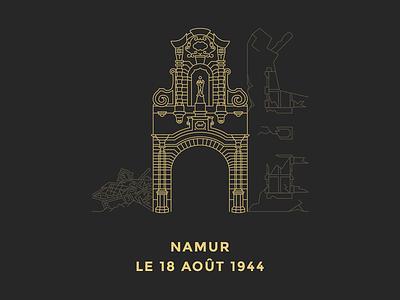 Namur, le 18 août 1944 — Outline Illustration outline architecture monument flat typography illustration stroke line gold belgium simplistic namur