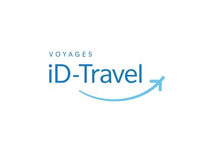 iD-Travel logo brand branding blue plane travel smile typography cyan swoosh agency belgium