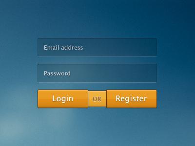 Rebound: login or register ui button login form orange register rebound