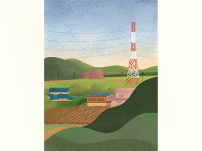 Japan Countryside procreate illustration