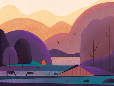 Virginia Countryside procreate illustration