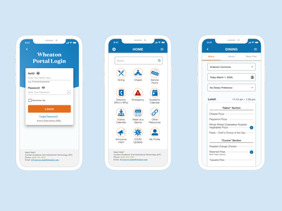 Wheaton Mobile App mobile app ui