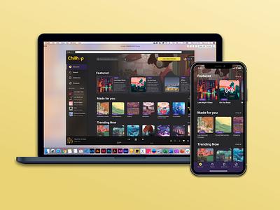 Chillhop Music App Desktop and Mobile ui desktop app mobile app